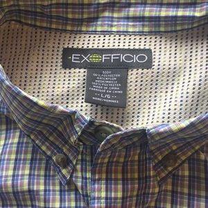L EX OFFICIO Long Sleeve Plaid Travel Shirt Plaid